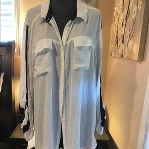 White sheer long sleeve tunic * plus size*